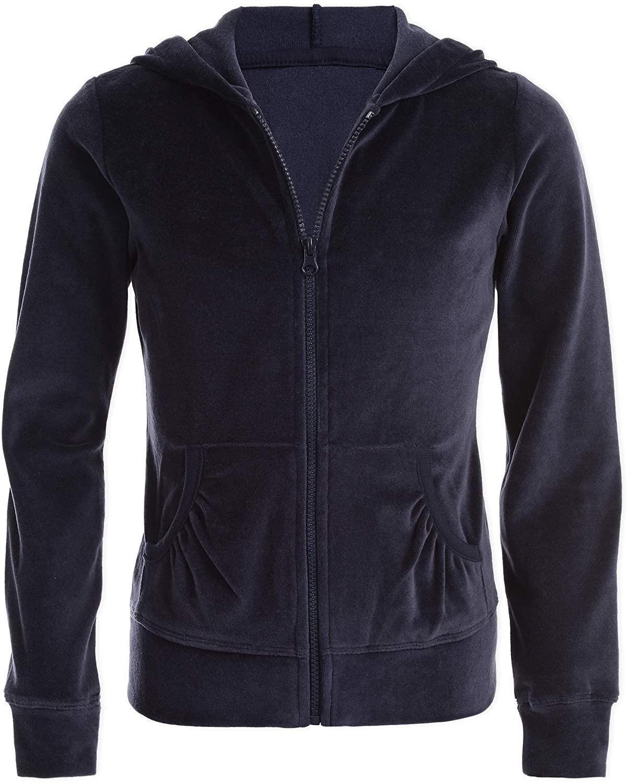 Nautica Girls' Uniform Velour Hoodie Sweatshirt