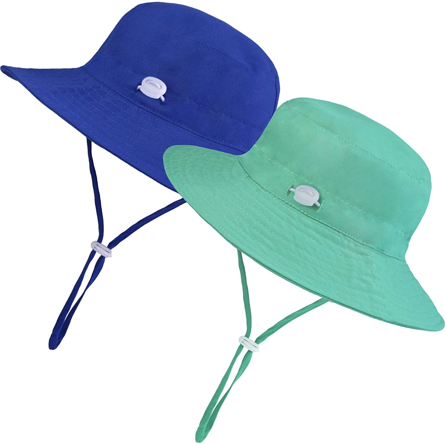 URATOT 2 Pack UPF 50+ Sun Protection Hats for Kids Boys Girls Wide Brim Chin Strap Hats Outdoor Swim Beach Bucket Sun Hat