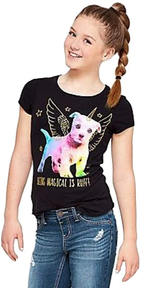 Justice Magical Puppy Graphic Tee Black