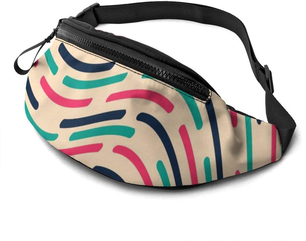 Vintage Pattern With Wavy Lines Fanny Pack For Men Women Waist Pack Bag With Headphone Jack And Zipper Pockets Adjustable Straps