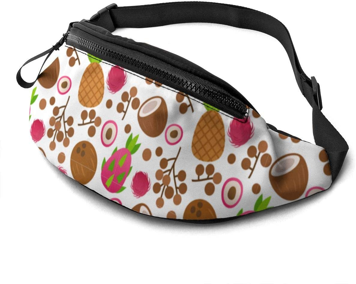 Coconut with longan Fanny Pack for Men Women Waist Pack Bag with Headphone Jack and Zipper Pockets Adjustable Straps