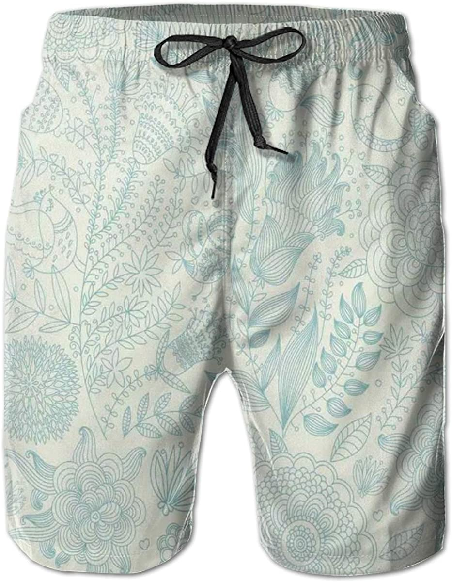 Men's Swim Trunks Quick Dry Beach Shorts Antique Ornamental Motifs Inspired by Lively Summer Season Nature L