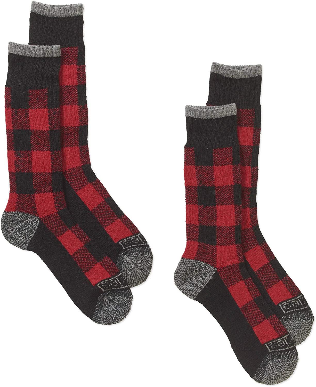 Dickies Premium Steel Toe Thermal Buffalo Plaid Wool Crew Socks (2-Pack) 10-13 (Red Plaid)