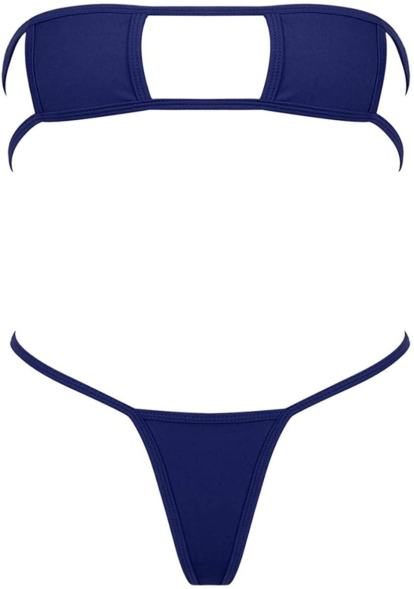 MSemis Woman's Japanese Anime Cosplay Micro Mini Bikini Lingerie Set Tube Bra G-String Swimsuit