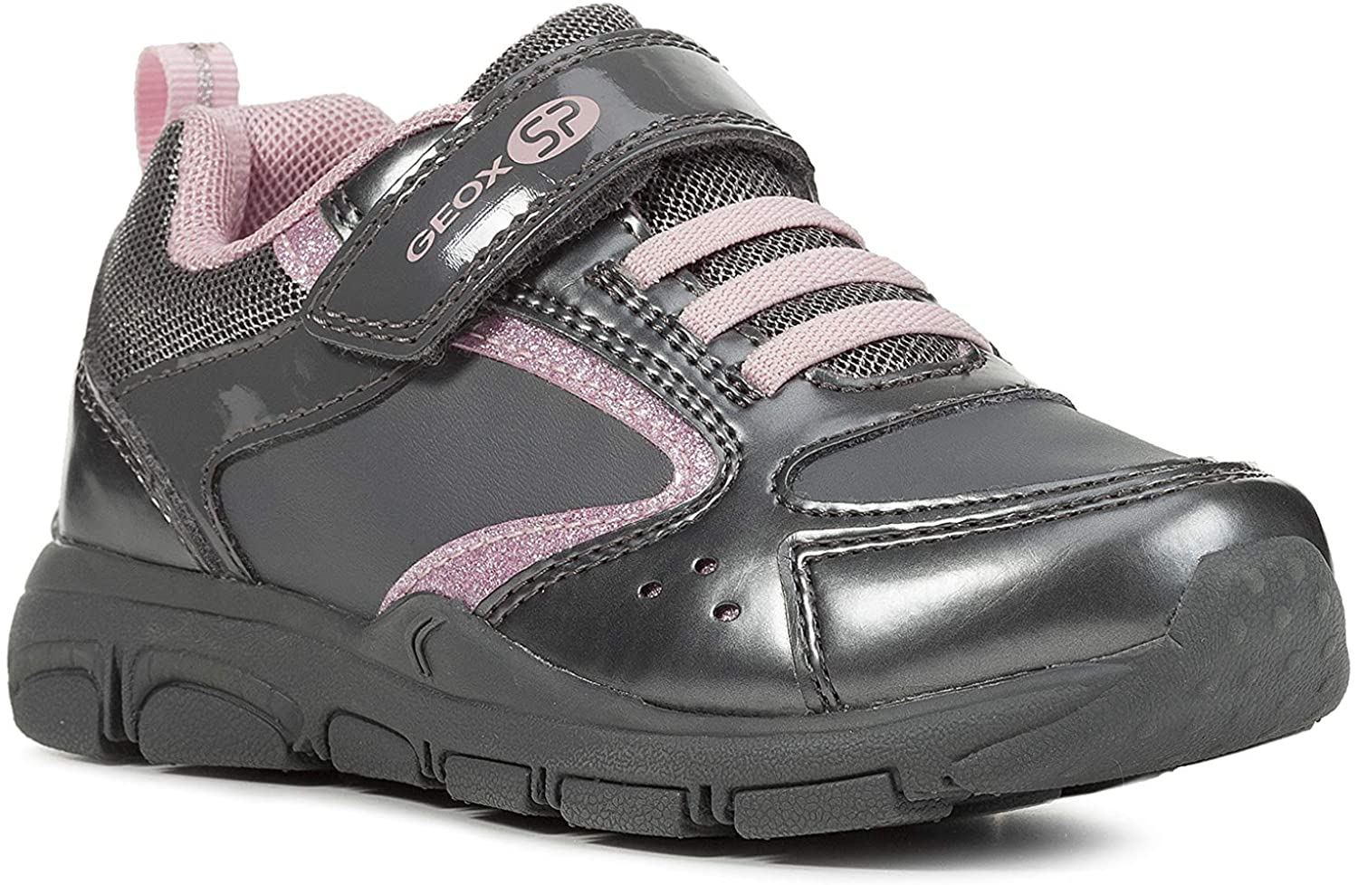 Geox Girls' New Torque 5 Sneakers Laces Riptape, Grey/Pink