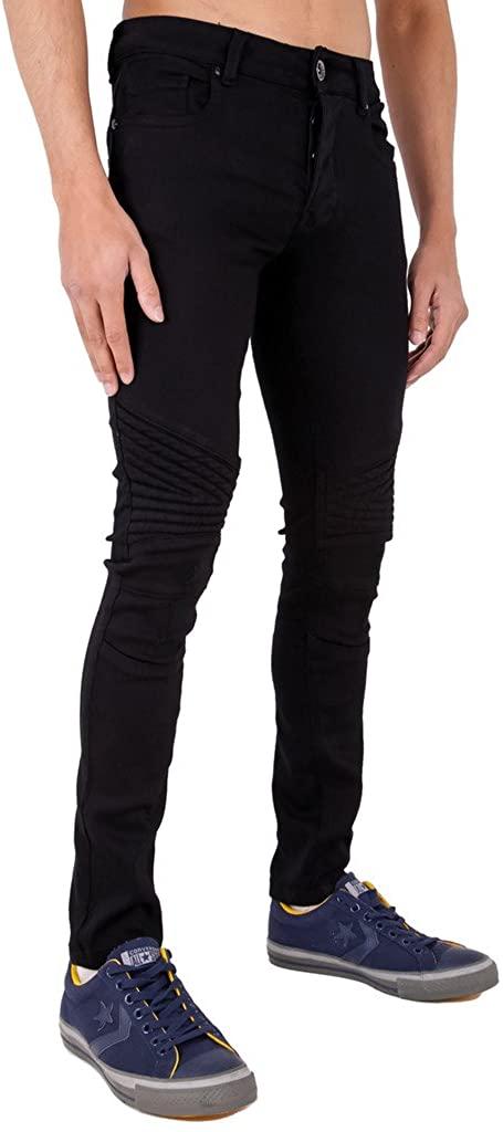 Mens Multi Stretch Skinny Rip Frayed Denim Jeans in Black & Stonewash
