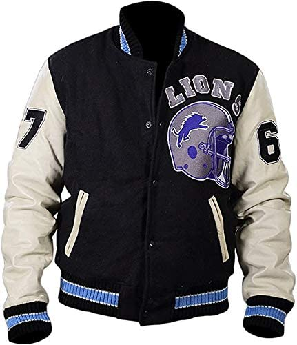 Mens Detroit Lions Hills Cop Axel Foley Beverly Vintage Sports Woolen Varsity Jacket