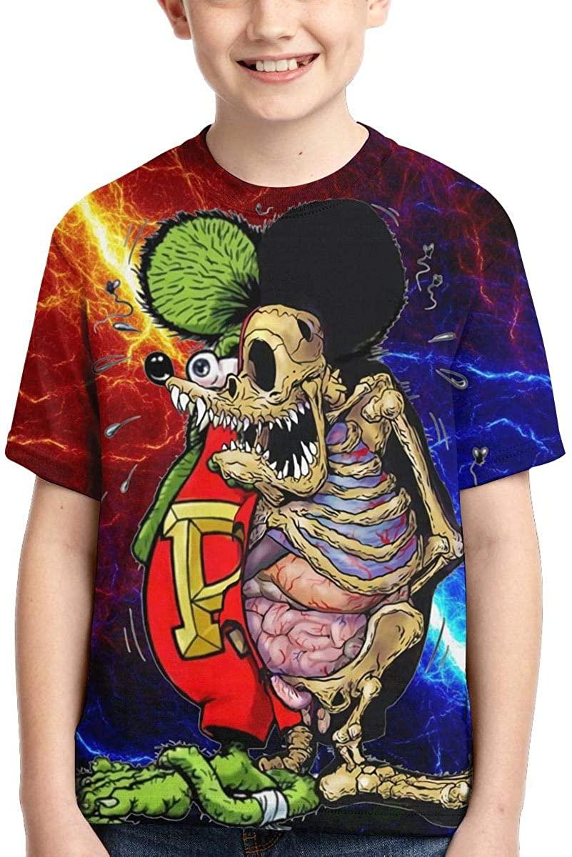 Rat Fink 3D Print Boys' T-Shirts Kids Sport Cute Short Sleeve Tops XL