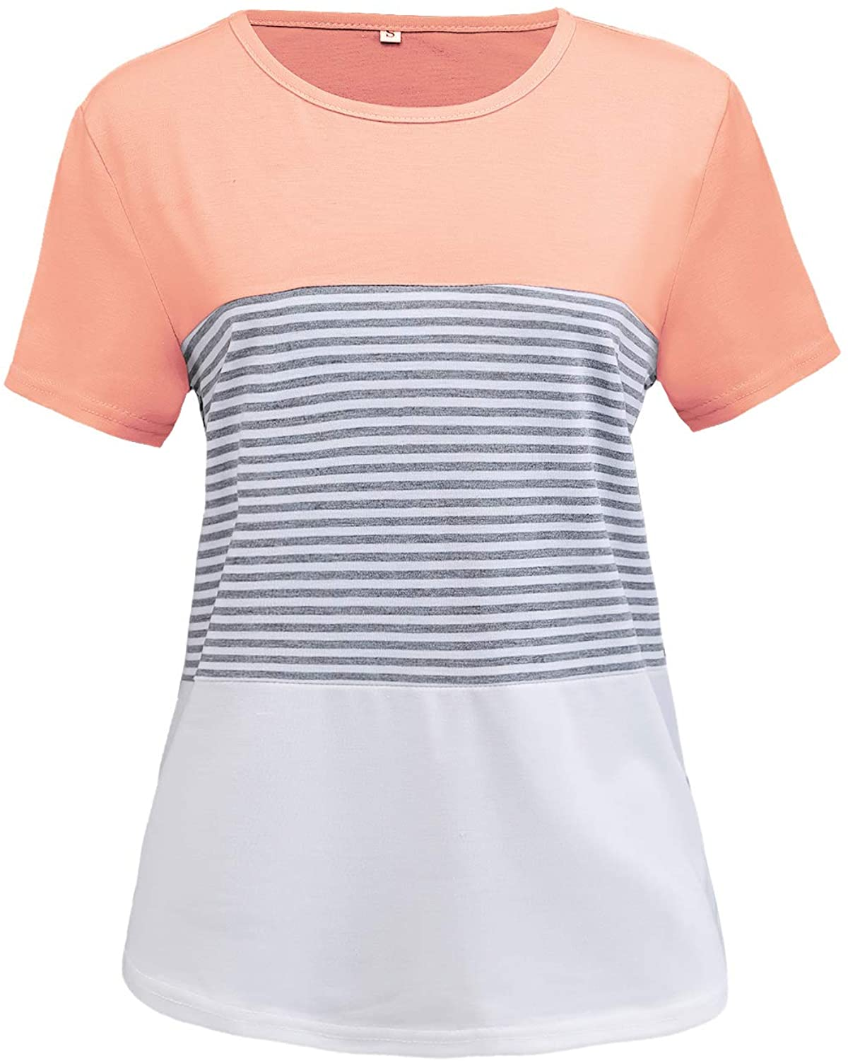 Yasswete Womens Girls Casual Color Block Top Blouse Short Sleeve Stripe T-Shirts Loose Fit Tunic