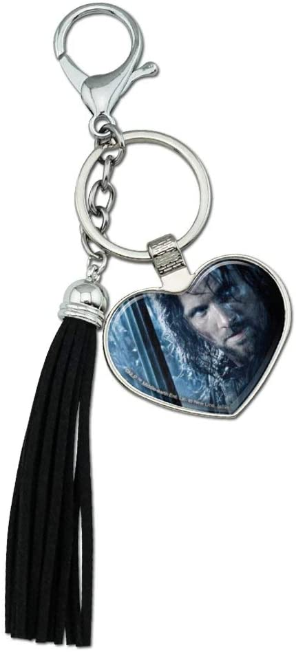 Graphics and More The Lord of The Rings Aragorn Character Chrome Plated Metal Heart Leather Tassel Keychain
