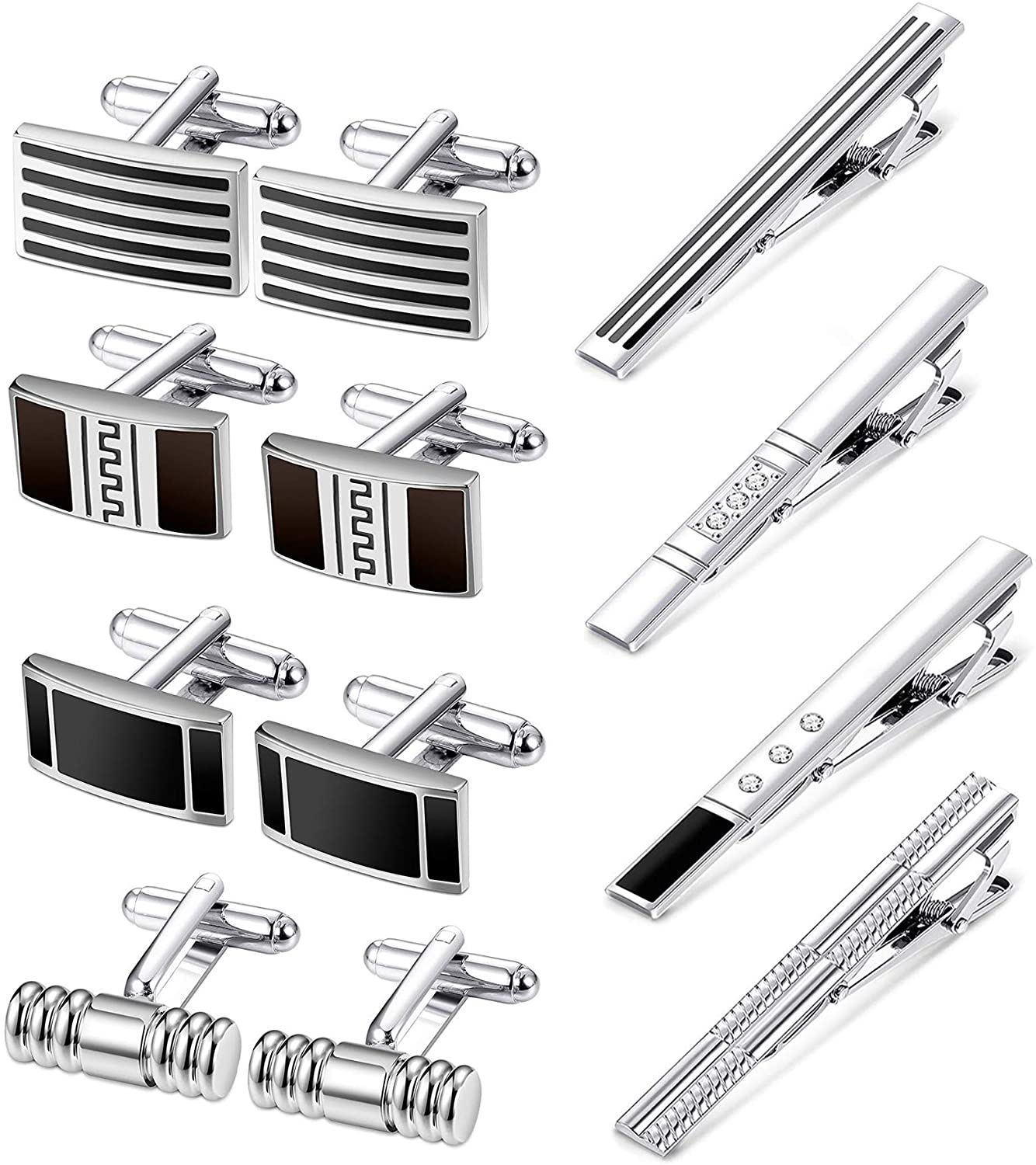 CASSIECA Cufflink and Tie Clip Set for Men Tie Bar Clips with Gift Box for Shirt Wedding Business