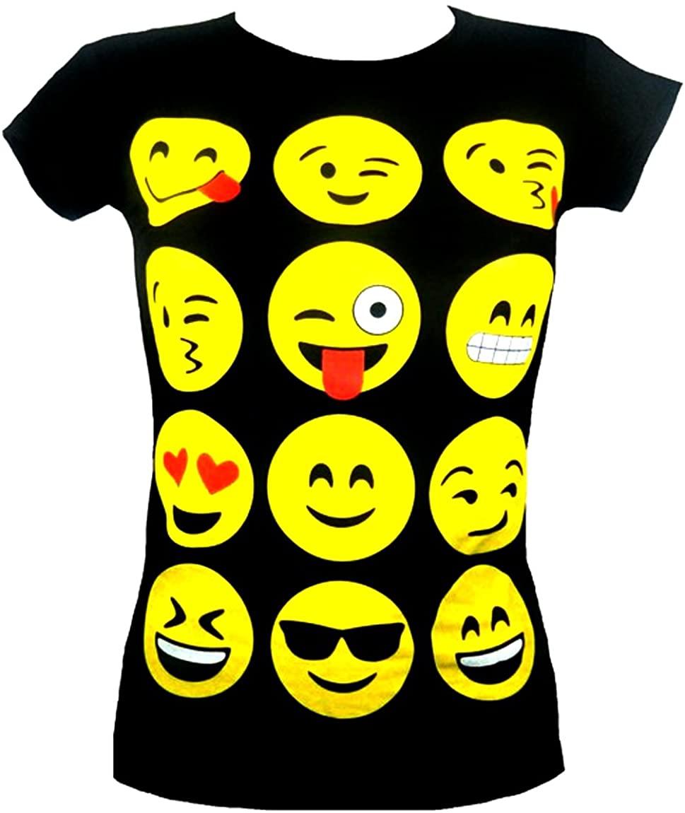 GIRLS T-SHIRTS & LEGGINGS EMOJI EMOTICONS SMILEY FACES SHORT SLEEVE TOPS 7-13 Y, Black, 7-8 years