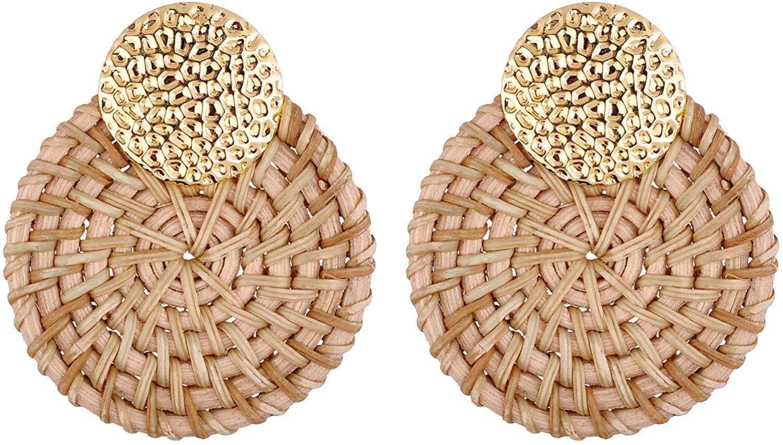 Nicole Miller New York Handmade Lightweight Straw Wicker Braid Rattan Woven Goldtone Earrings
