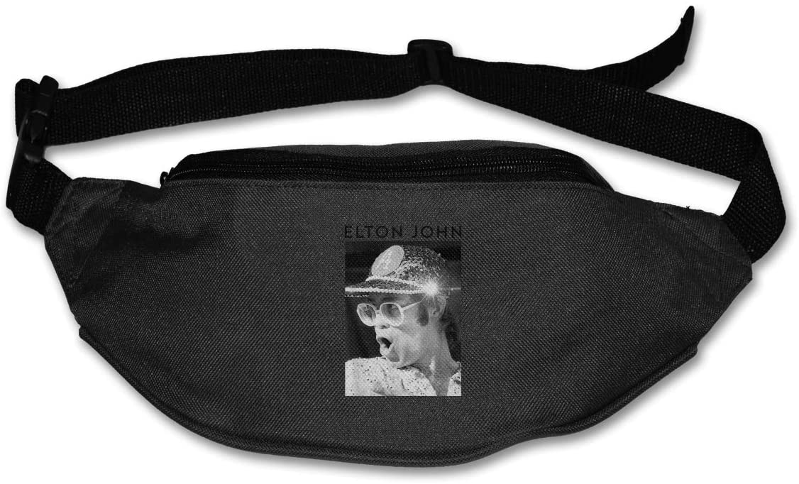 Hwxzviodfjg Elton John Adjustable Running Belt Waist Pack Belt Fanny Pack Black