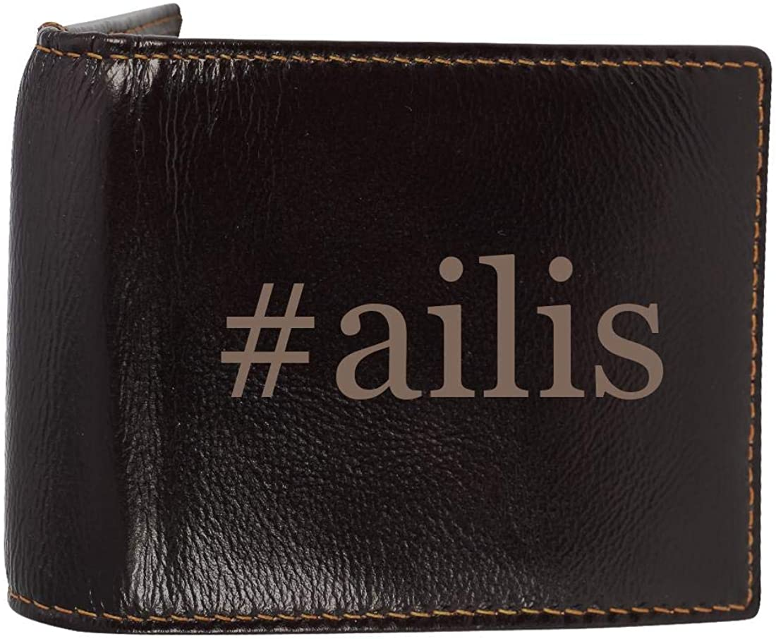 #ailis - Genuine Engraved Hashtag Soft Cowhide Bifold Leather Wallet