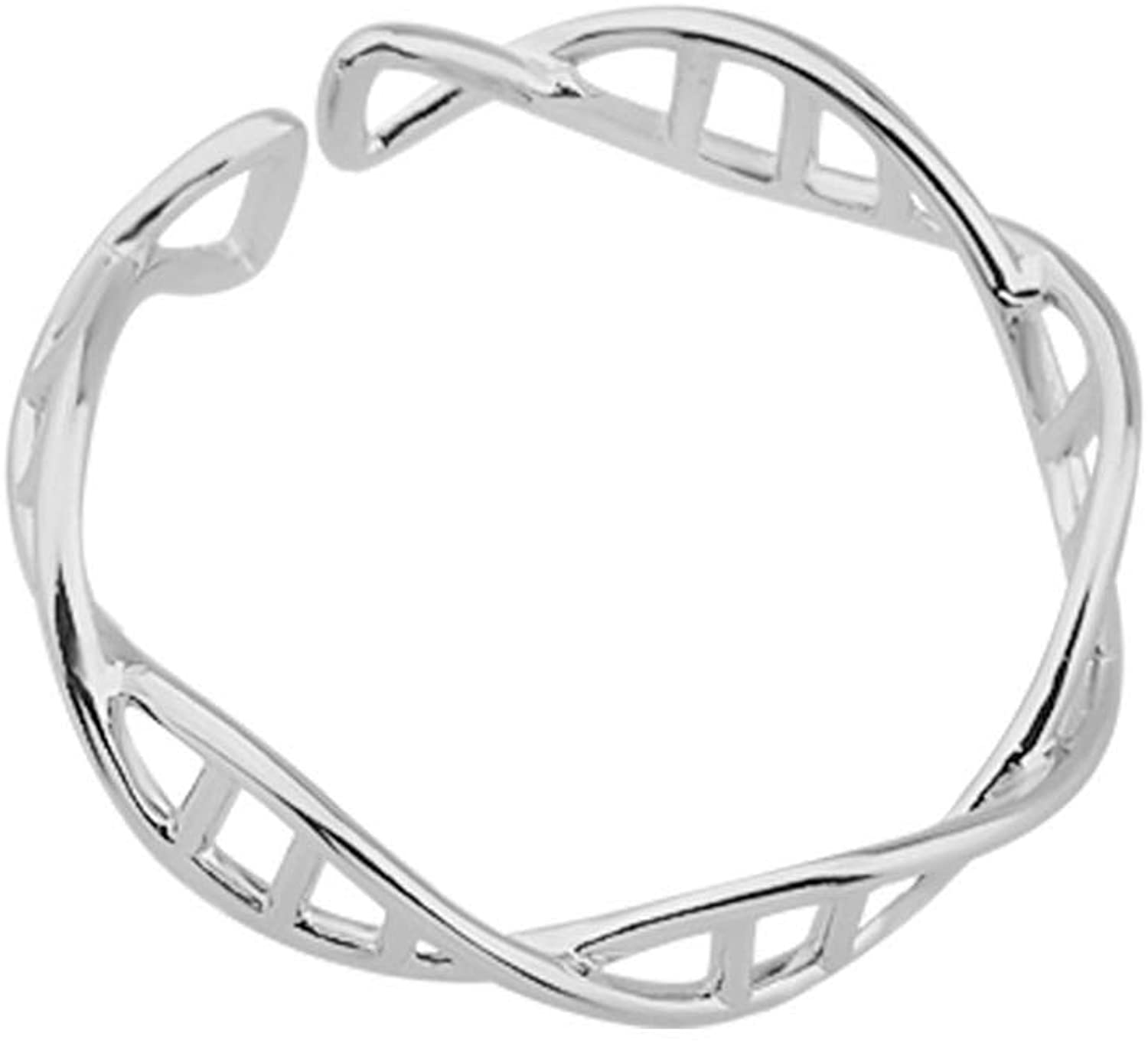 Zuo Bao Stainless Steel DNA Helix Band Chemistry Science Molecule Twist Finger Ring Adjustable Ring Creative Gift for Biology Chemistry Teacher