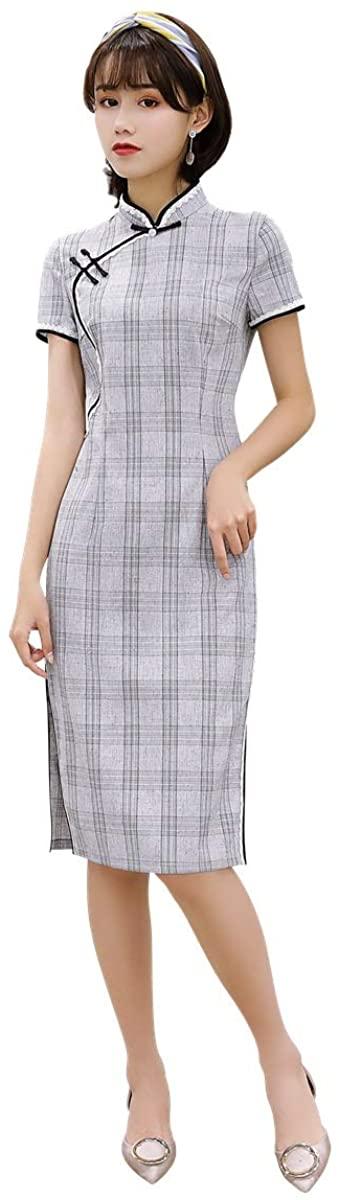 Shanghai Story Linen Qipao Knee Length Cheongsam Chinese Style Dress Check Print Cheongsam