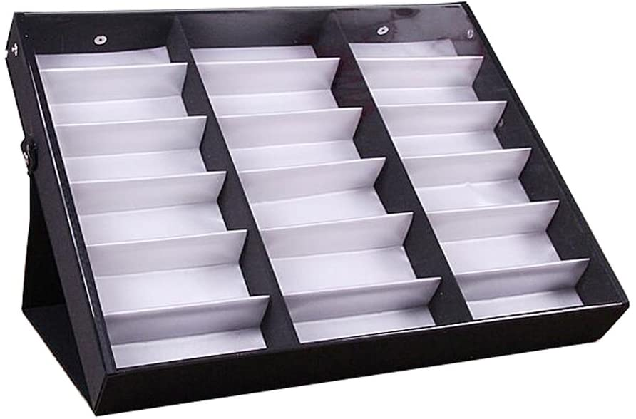 George Jimmy Eyeglasses Display Tray Sunglasses Case with Cover – 18 Compartments-A1