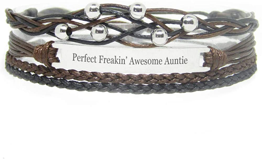 Miiras Family Engraved Handmade Bracelet - Perfect Freakin' Awesome Auntie - Black - Made of Braided Rope and Stainless Steel - Gift for Auntie