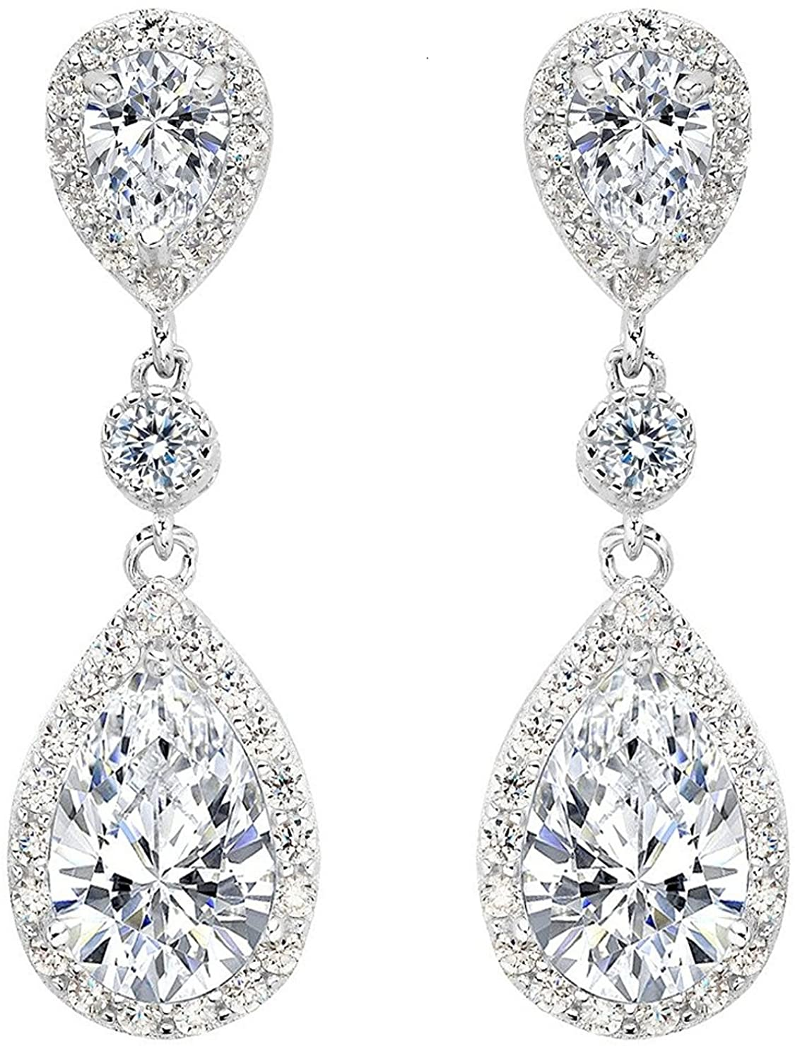 Yangle0520 Sterling Silver Drop Earrings,Sparkly Teardrop Chandelier Earrings, Exquisite Workmanship, Fashion Stylish Elegant Design, Wedding and Party Jewelry