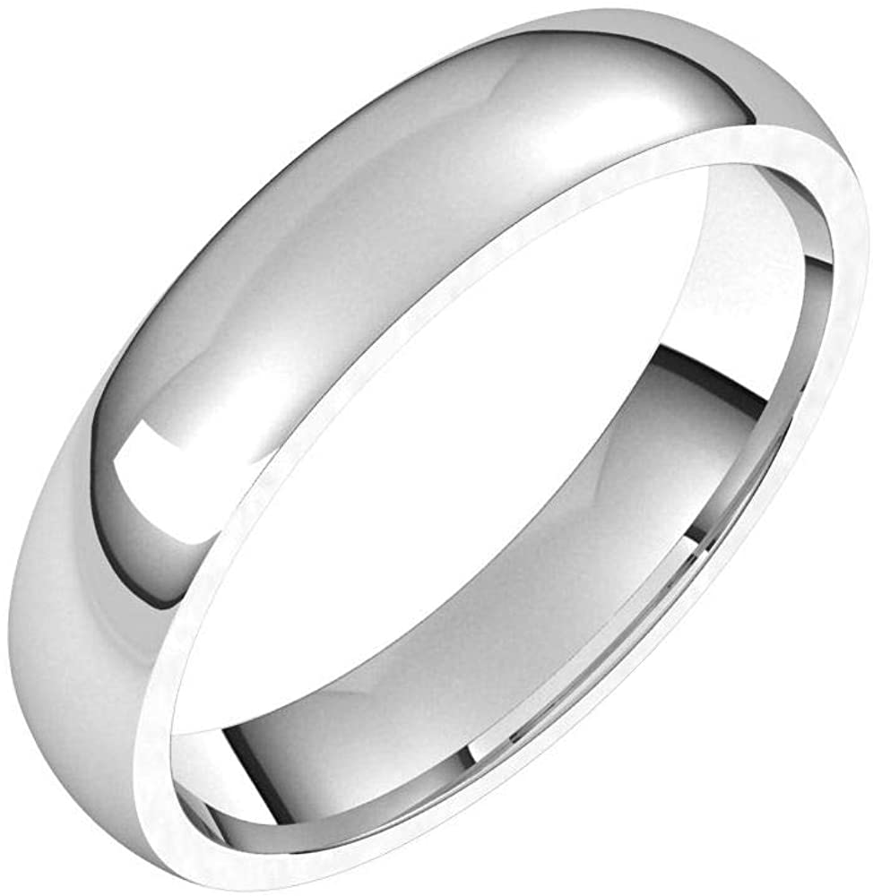 Solid 18K White Gold 4mm Half Round Comfort Fit Light Wedding Band Size 7