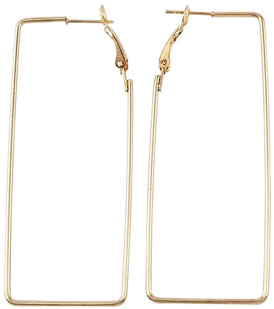 Gold Silver Geometric Rectangular Earrings Fashion Metal Frames Personality Female Eardrop Jewelry