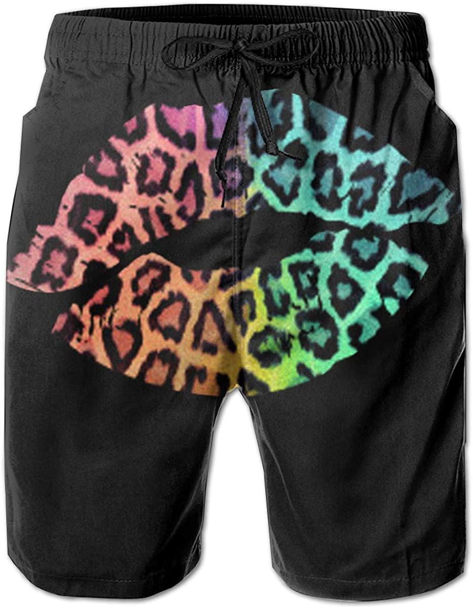 DoubleHappy Leopard Lips. Men Quick Dry Swim Swimwear Trunks Shorts Bathing Suit