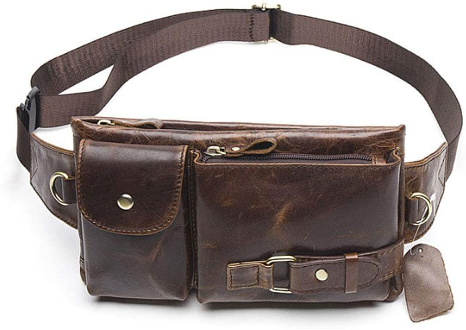 Hebetag Leather Waist Bag Fanny Pack for Men Women Travel Outdoor Hunting Hiking Climbing Multi-Purpose Hip Bum Belt Slim Cell Phone Purse Wallet Pouch