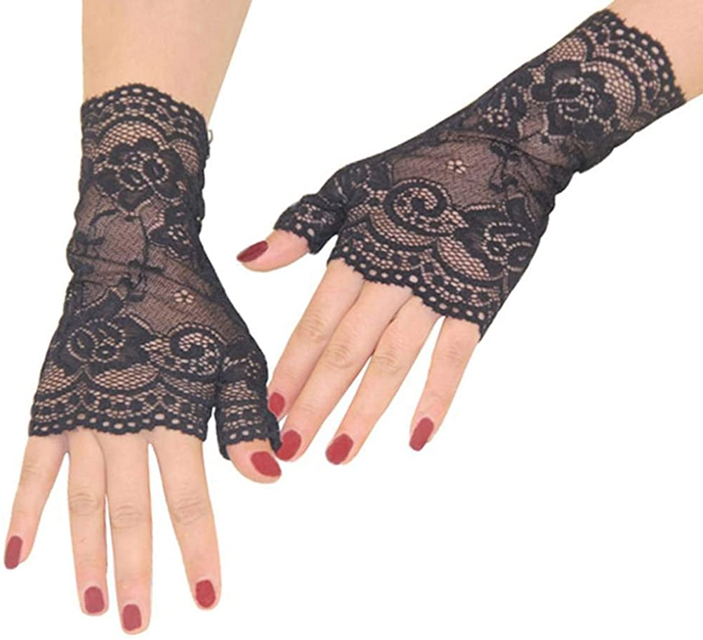 Orcle Women's Short Lace Gloves Fingerless for Driving Wedding Wrist Length Bridal Prom Gloves