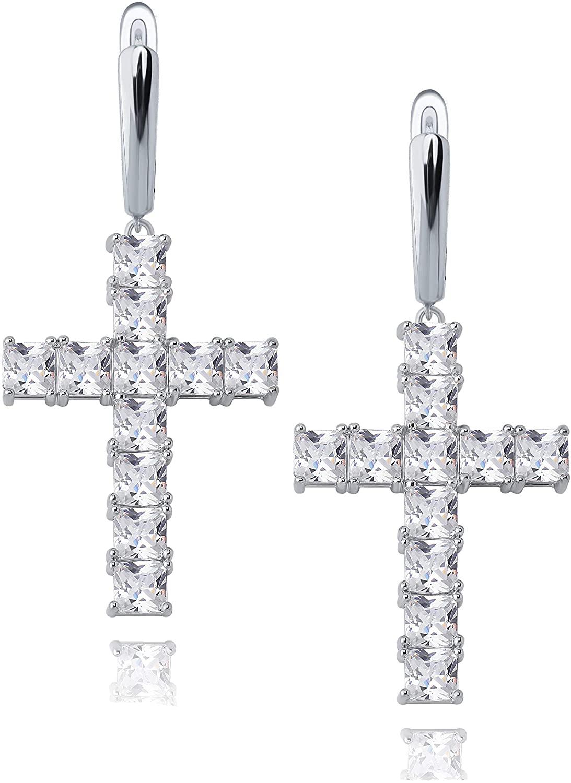 TOPGRILLZ Dangle Cross Huggie Hinged Hoop Earrings for Men Women Iced out Princess Diamond 14K Gold Plated Novelty Design