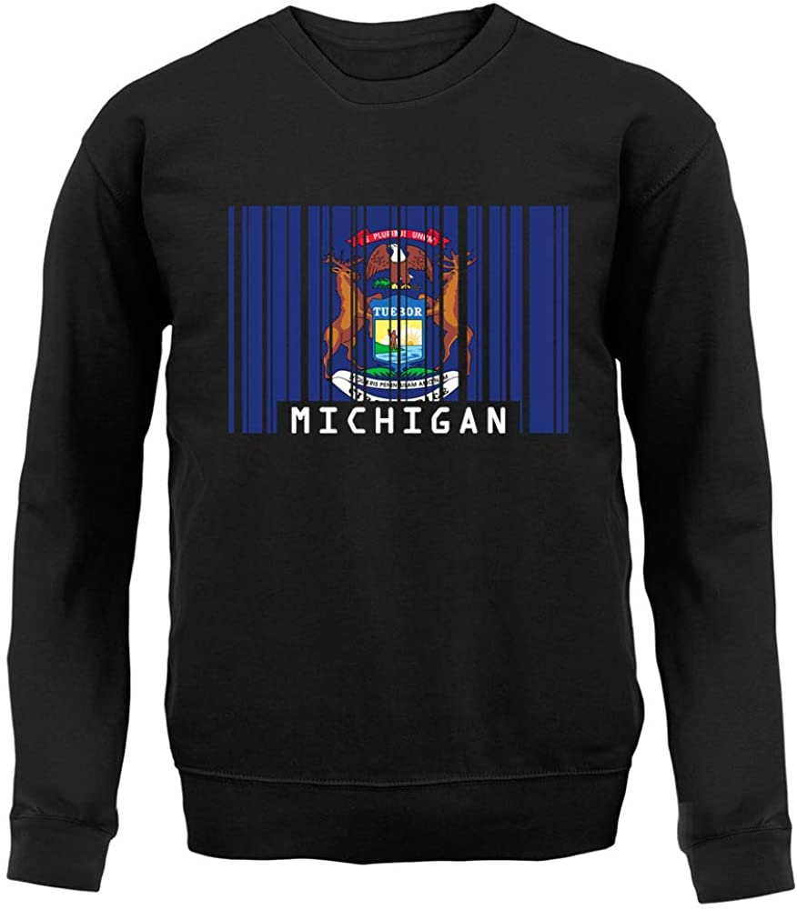 Dressdown Michigan Barcode Style Flag - Unisex Crewneck Sweater/Jumper