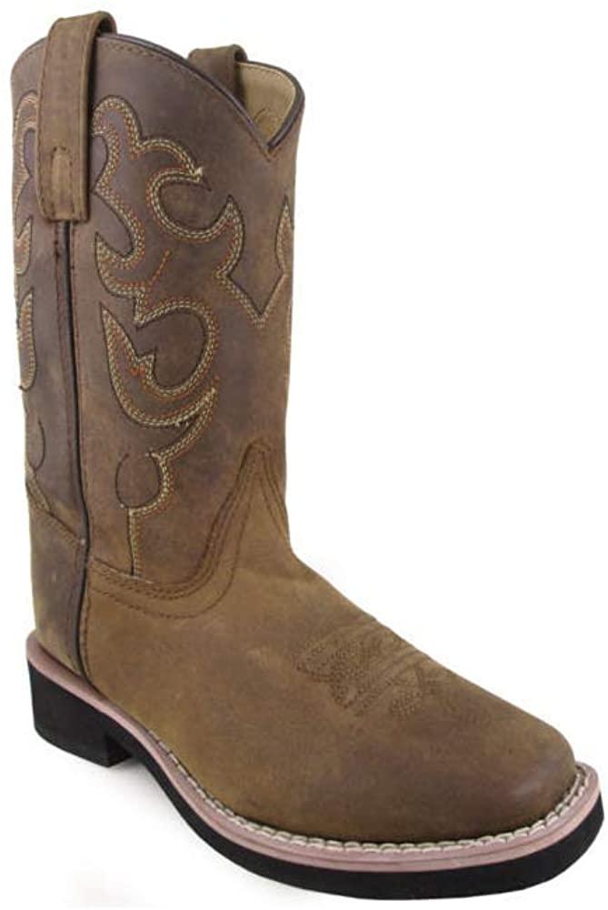 Smoky Children's Kid's Pueblo Dark Crazy Horse Leather Western Cowboy Boot