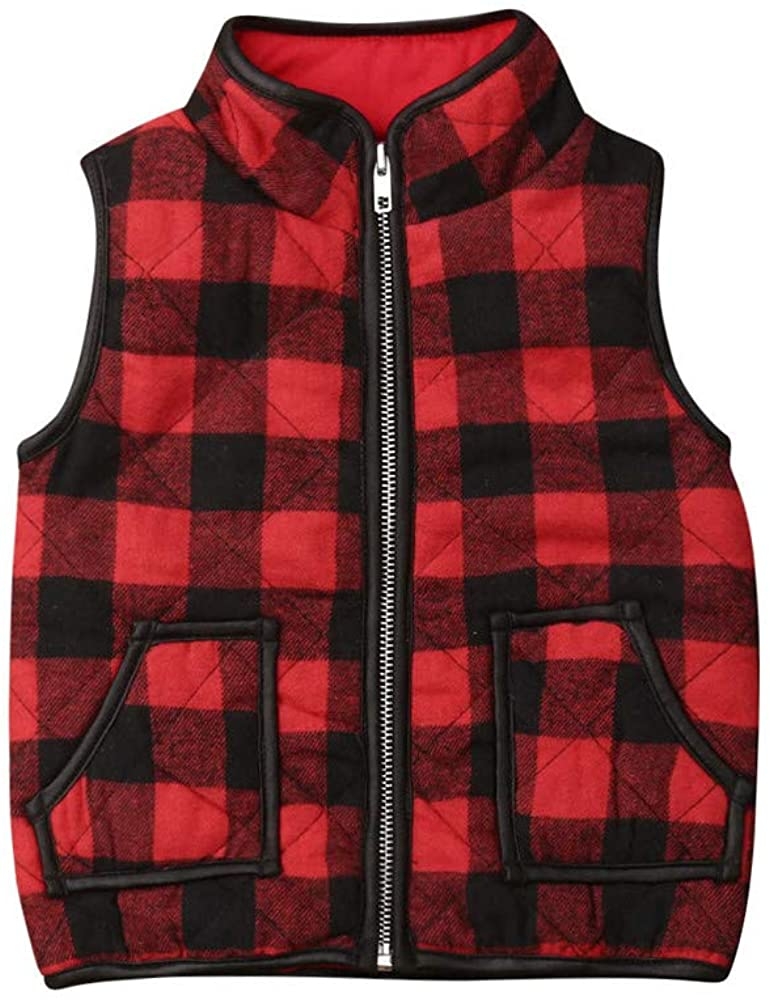 Toddler Baby Girl Boy Plaid Qulted Puffer Vest Padded Gilet Jacket Outwear Winter Outfit Clothes