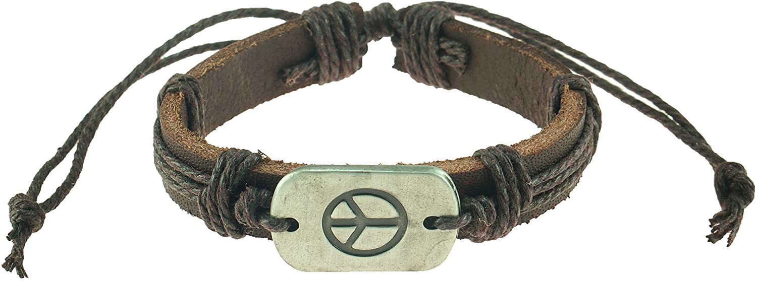 BlueRica Antique Silver Color Dog Tag with Engraved Peace on Adjustable Leather and Cord Bracelet (Brown)
