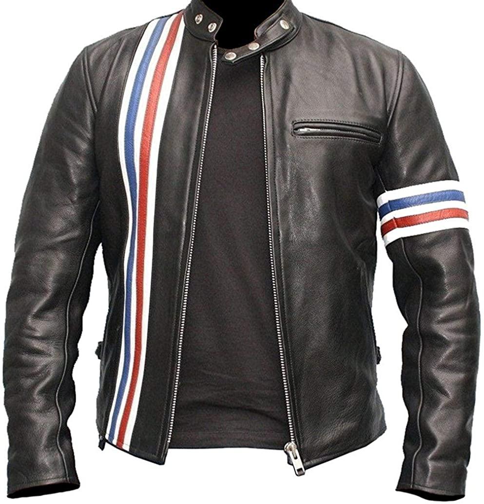 Mens Vintage Café Racer Jacket Motorcycle Retro Distressed Leather Biker Jacket