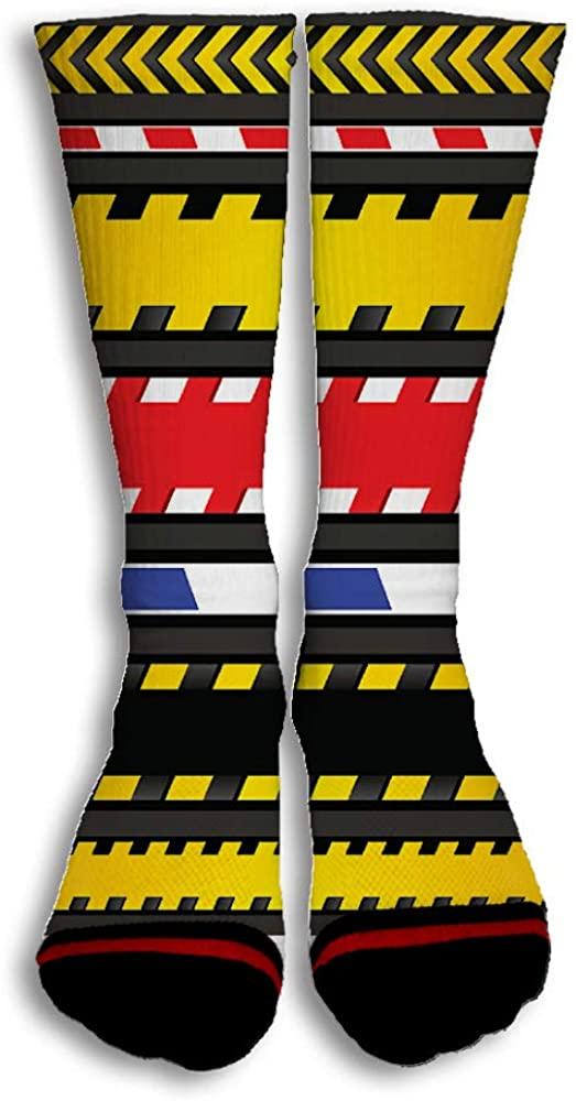 Caution Tapes Strip Popular Colorful Design Creative Sport 3D Printed Crew Socks