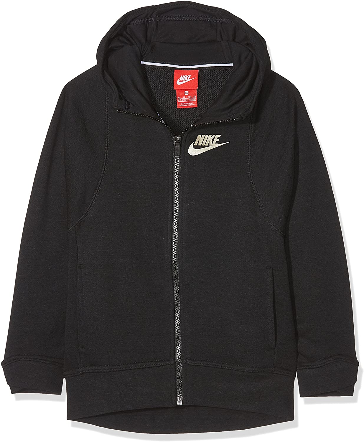 Nike Sportswear Girl's (Big Kids) Full Zip Modern NSW Hoodie - Black (Medium)