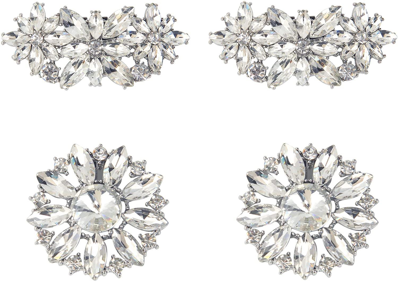 kilofly 2 Pairs Elegant Rhinestone Crystal Metal Shoe Clips Wedding Party Set