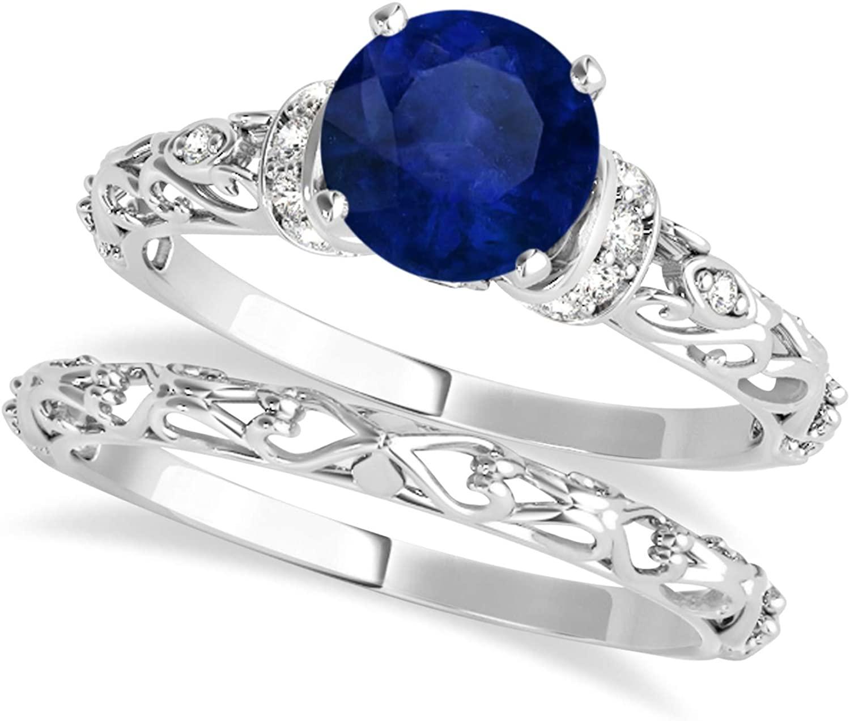 (0.87ct) 18k White Gold Blue Sapphire and Diamond Antique-Style Bridal Set