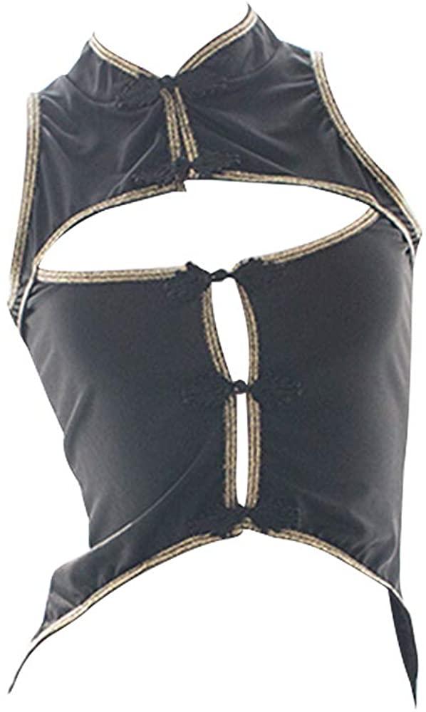 YOMORIO Sexy Cheongsam Crop Top Open Chest Anime Cosplay Costume Sleeveless Vest Black