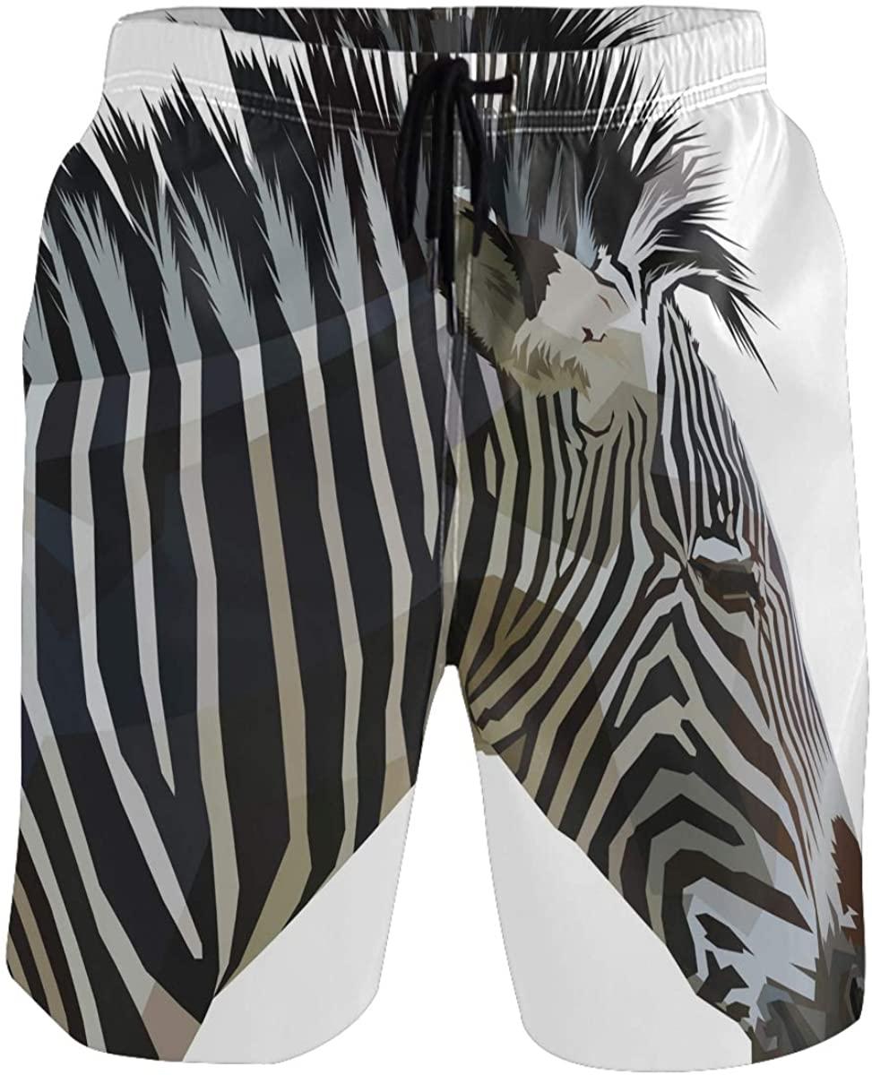 RunningBear Men's Swim Trunks - Zebra Beach Short Men Quick Dry Bathing Suit Shorts