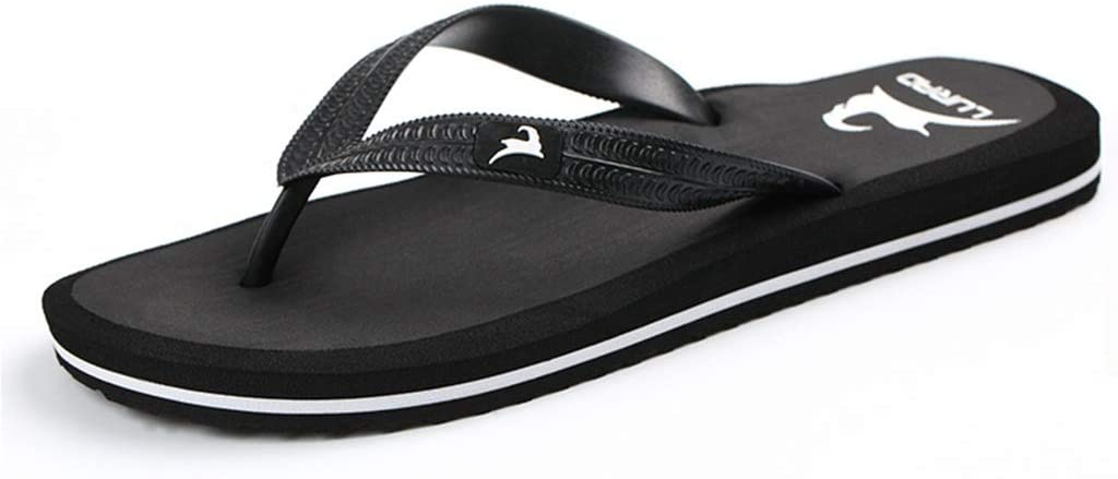 WXFF Men's Pulling Flip Flops Summer Sandals and Slippers Non-Slip Flat Sandals Beach Shoes (Color : Black, Size : 40)