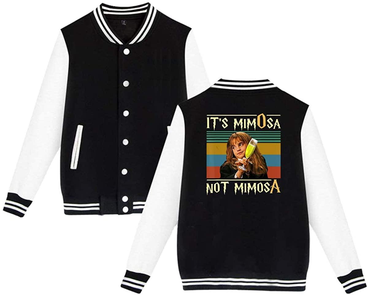 GOOANGUS Its-Mimosa-Not-Mimosa-Vintage Funny Harry Unisex Baseball Jacket Varsity Jacket Black