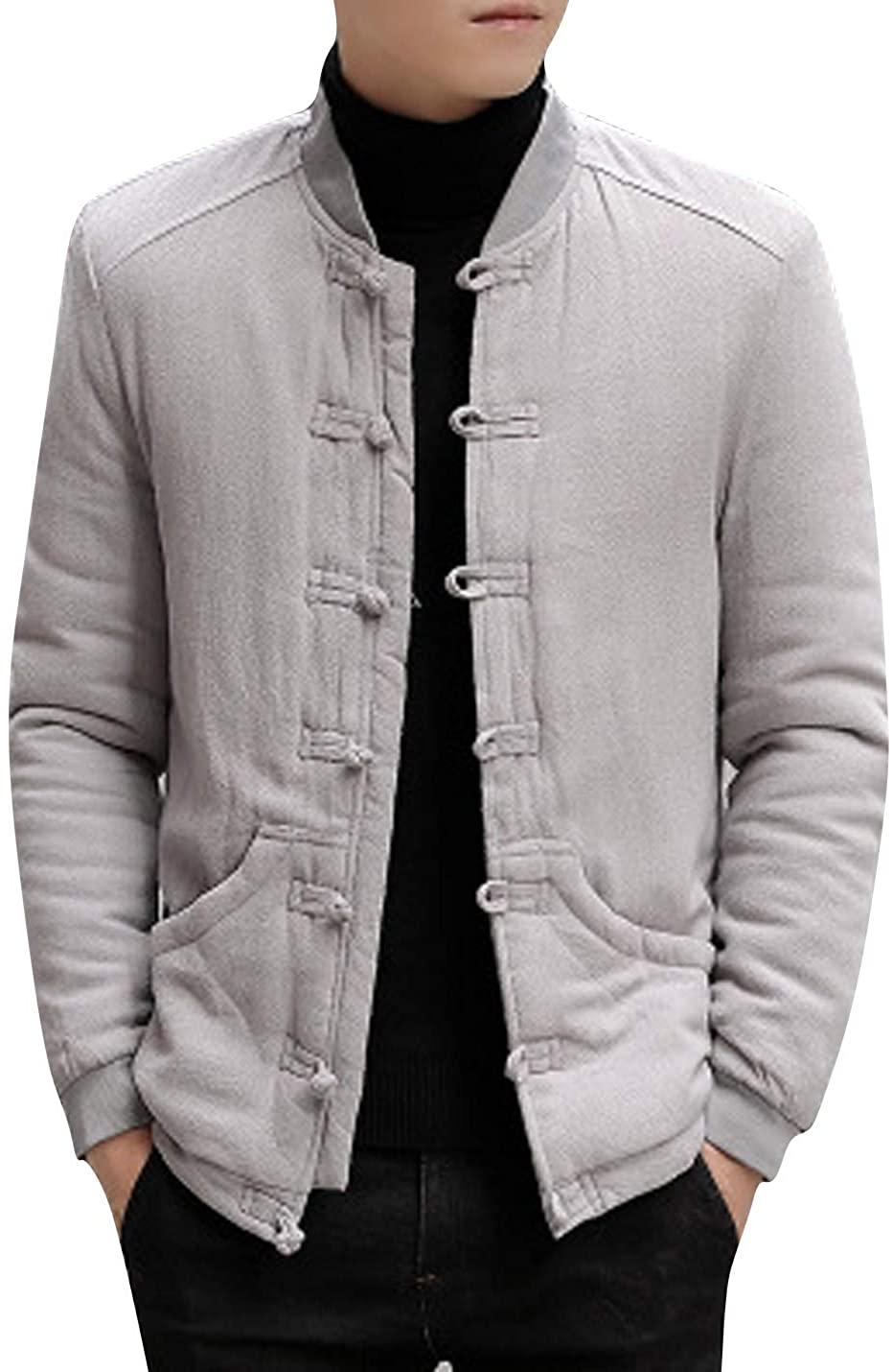 HUPOO Men's Retro Sherpa-Lined Jackets Frog Chinese Buttons Linen Baseball Jacket Coats