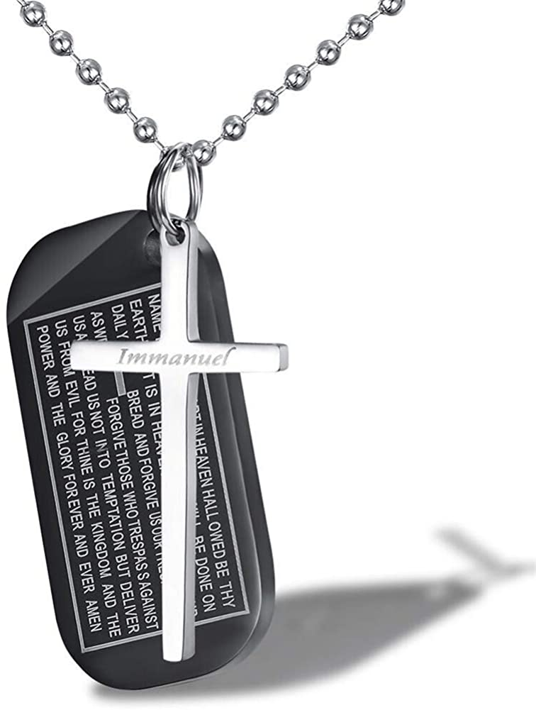 AILUOR 2PCS Stainless Steel Immanuel Black Cross Pendant Necklace Bible Oratio Dominica Pray Immanuel Couples Necklace Army Card Military Tablet Tags Charms Jewelry