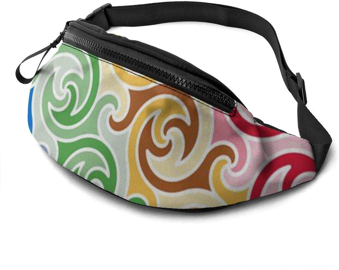 Totem pattern Fanny Pack for Men Women Waist Pack Bag with Headphone Jack and Zipper Pockets Adjustable Straps