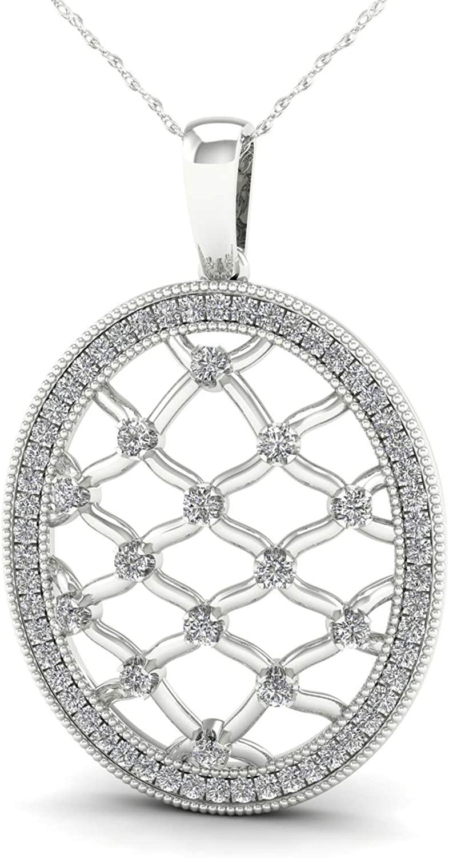 De Couer 10K Gold 1/4ct TDW Diamond Filigree Oval Necklace (I-J, I2)