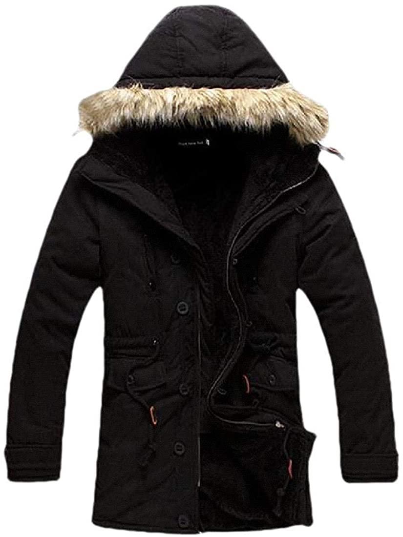 Men Warm Hooded Fur Collar Thicken Fit Winter Mid-Long Jacket Coat