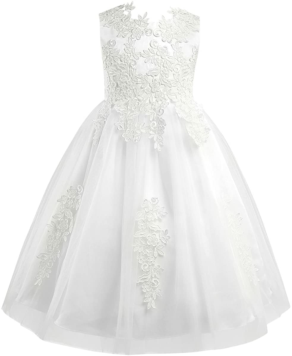 moily Girls Princess Water-Soluble Lace Dress Wedding Birthday Formal Ball Gown Flower Girl Dress