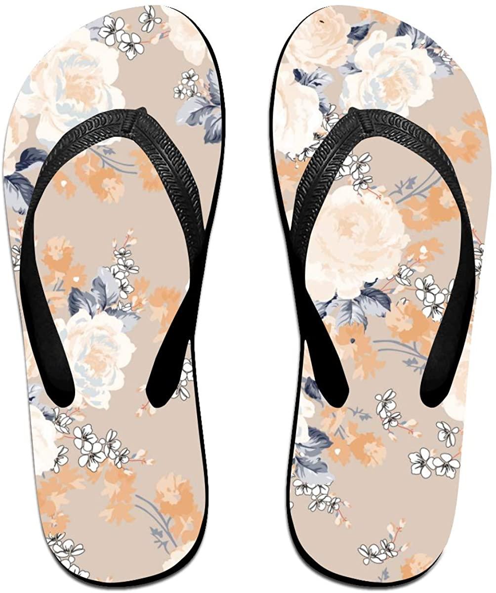 Mens Flip Flop Slippers White Rose Flowers Floral Rubber Comfy Flip Flops Outdoor Beach Sandals